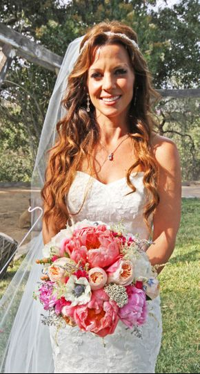bride and peony bouquet