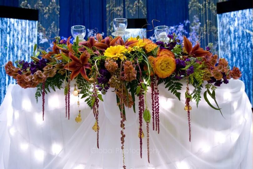 sweet heart table arrangement