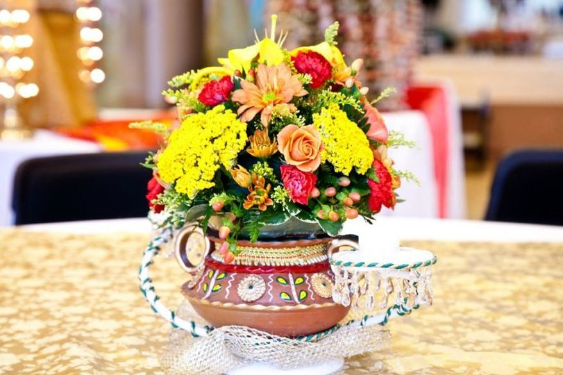 traditional center piece on sangeet (music night) base is made out of clay