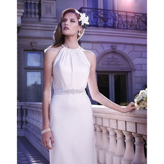 Perfecting Satin high necked Casablanca bridal gown with belt included