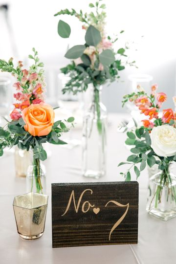 Table number and floral decor