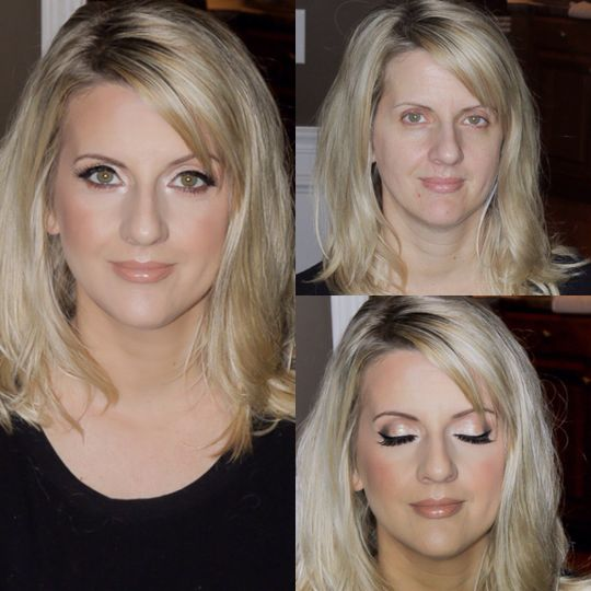 Before and after sample makeup look