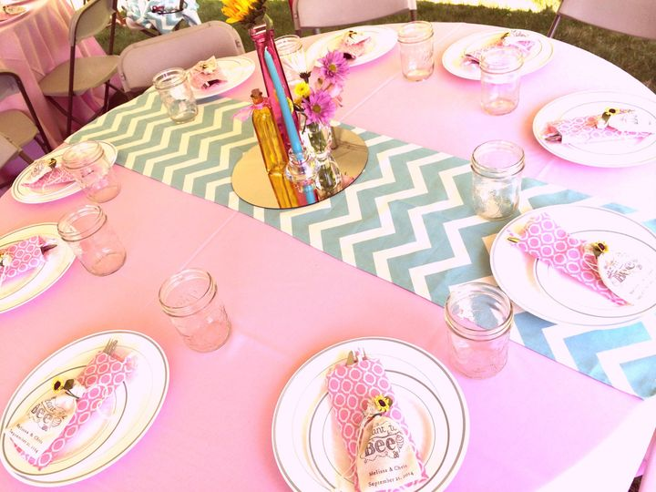Pink and blue table design