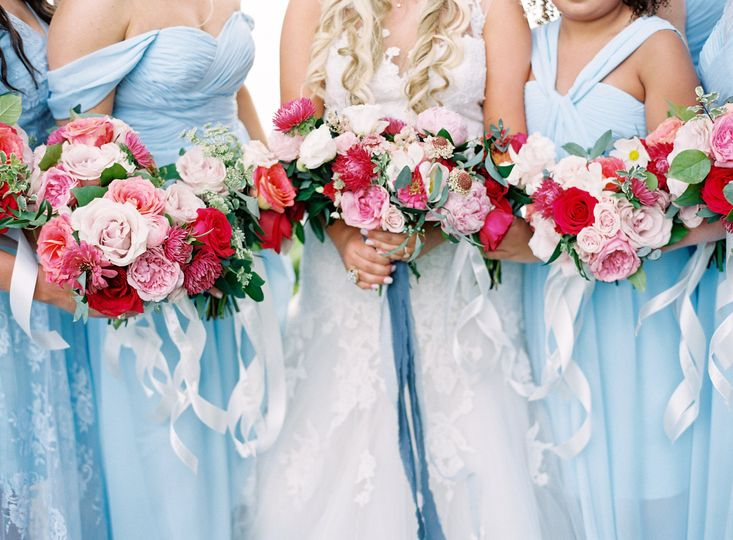 Blush blue dresses
