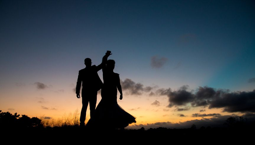Sillhouette of Bride and Groom
