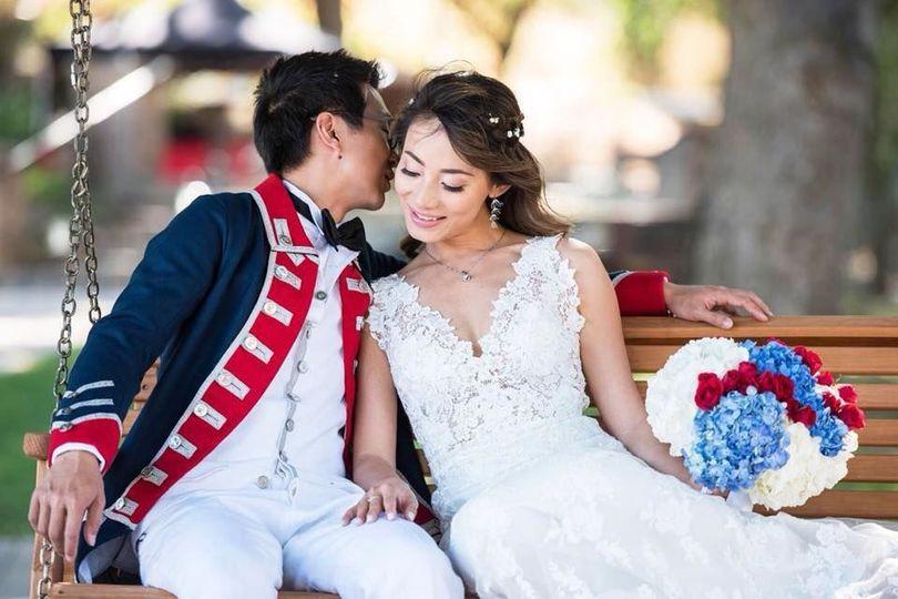 Newlyweds on bench