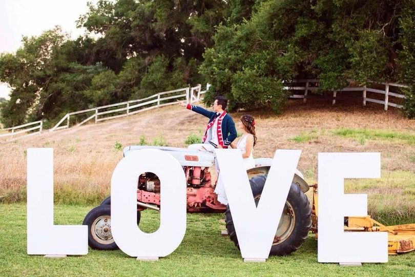 Love signage and tractor