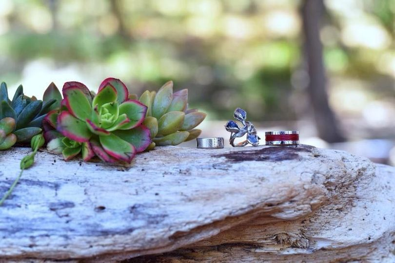 Wedding rings and plants