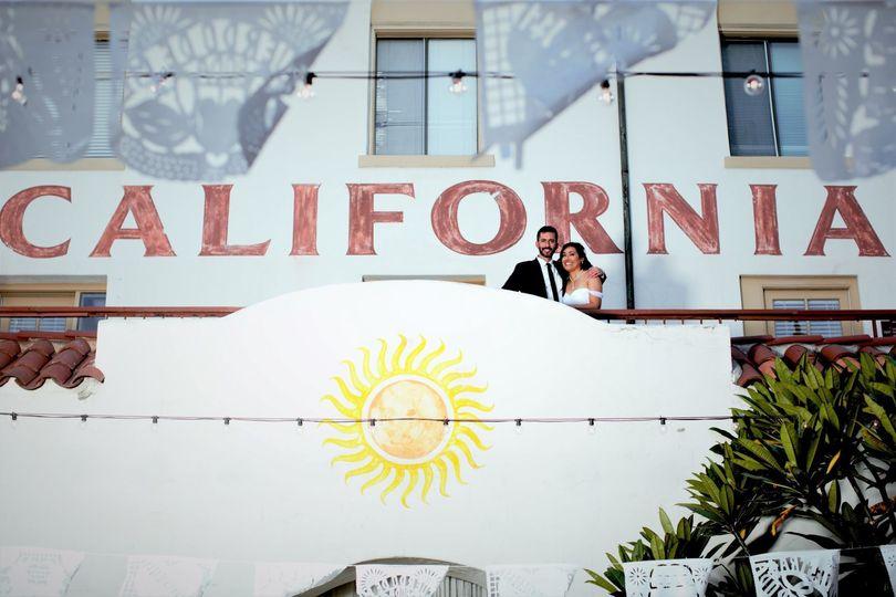 Newlyweds with California backdrop