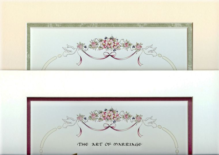 Art of Marriage mat choices: Antique white, Antique parchment, Maroon, Pale green leaves, Raspberry,...