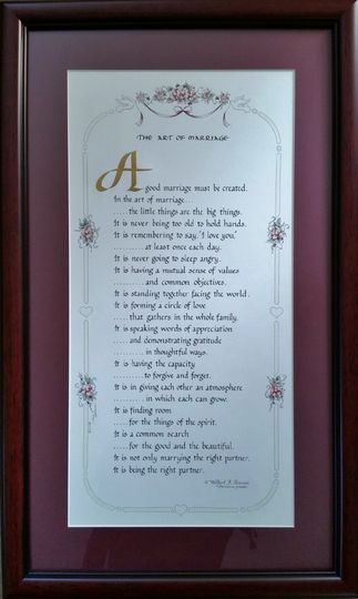 "Framed Art of Marriage 12"" x 21"" Beautiful mahogany tone frame"