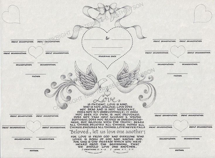 Marriage Family Tree 14 x 18 matted in a white heirloom print