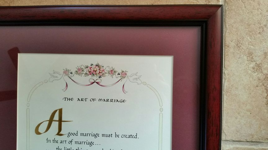 Art of Marriage shown with maroon mat and mahogany tone frame