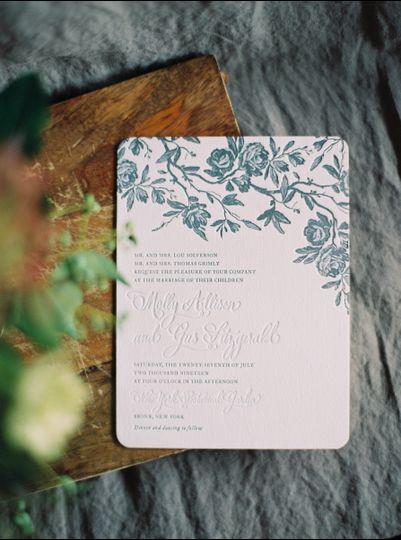 Floral art on invite
