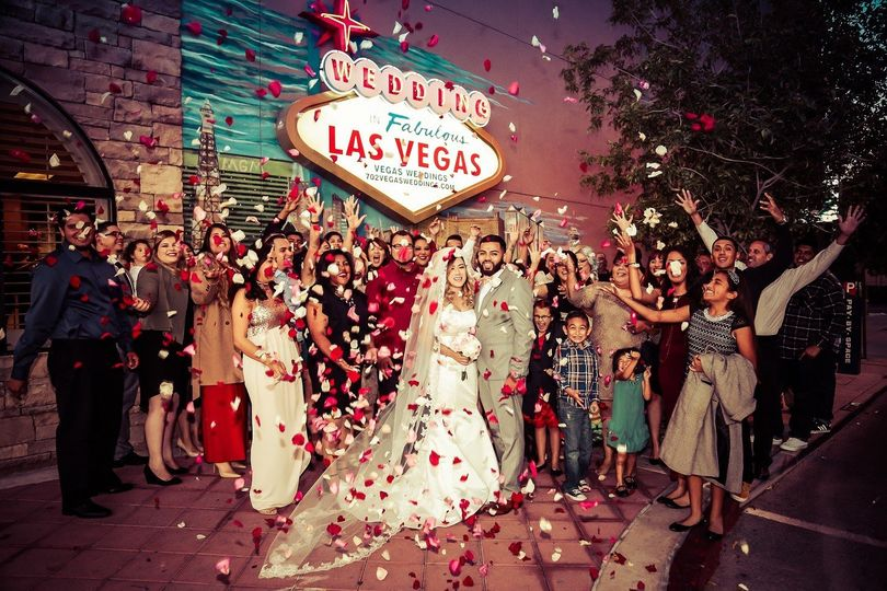 Our Wedding in Fabulous Las Vegas sign is the perfect backdrop for a photo such as this wedding...