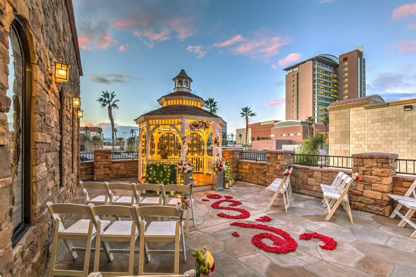 The Terrace Gazebo accommodates 30 and is a great place for an outdoor gazebo wedding in Las Vegas....