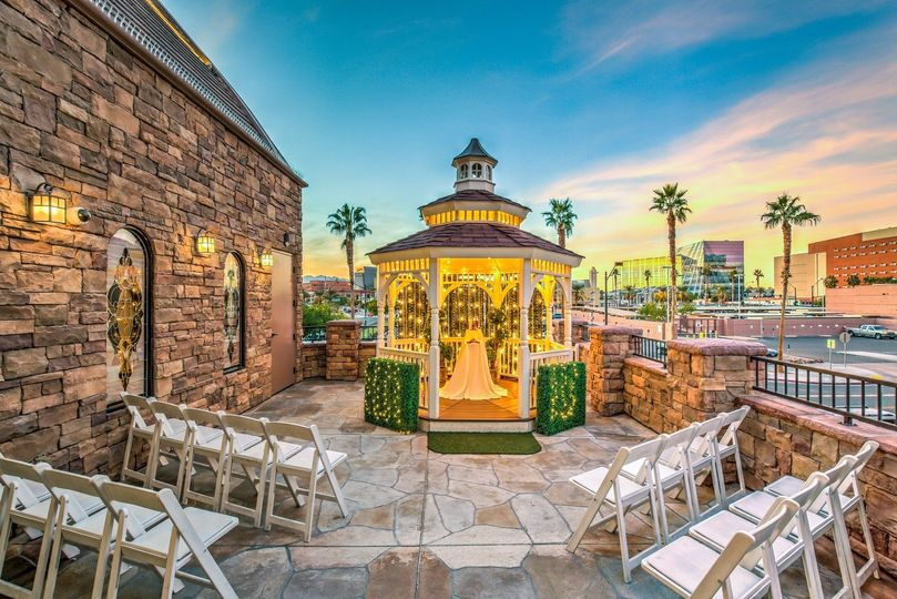 The Terrace Gazebo provides a romantic setting upon the balcony of the Vegas Weddings main chapel...
