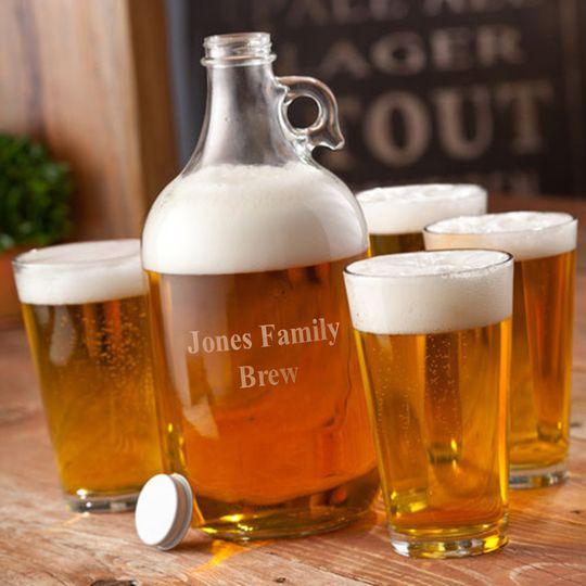 Engraved Beer growler set