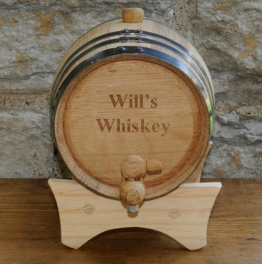Personalized Mini Oak Whiskey Barrel and Stand