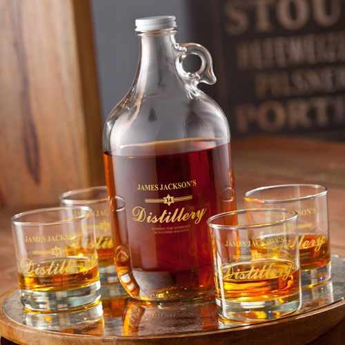 printed whiskey jug set for groomsmen