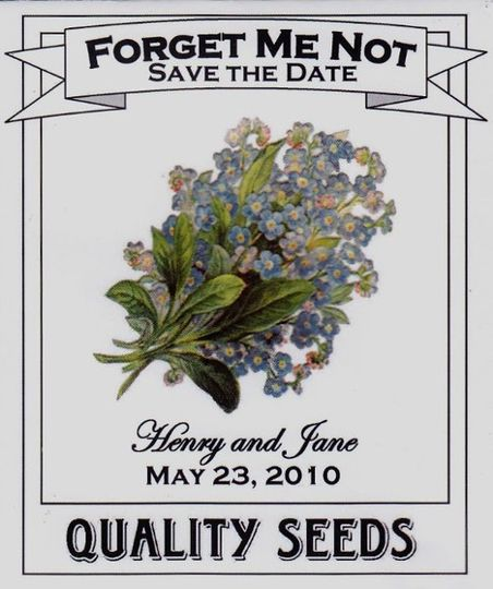 Forget Me Not Save the Date Seed Packets.