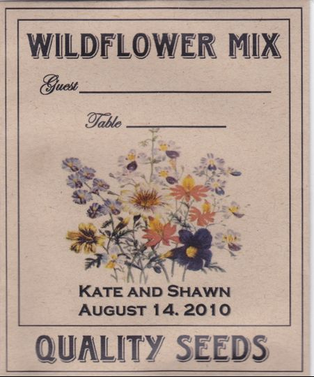 Escort or Place Card Wildflower Seed Packets. Personalized with Names and date.