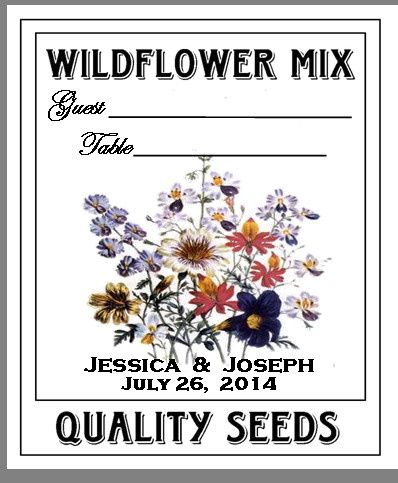Escort/Place Card Wildflower Seed Packet.