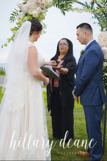 For this wedding, the best man passed the rings to me, and I held them in my hand for the bride and...