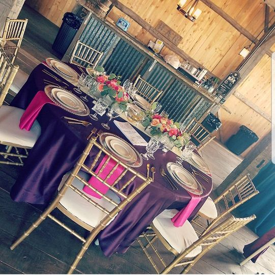 Violet table and pink decor