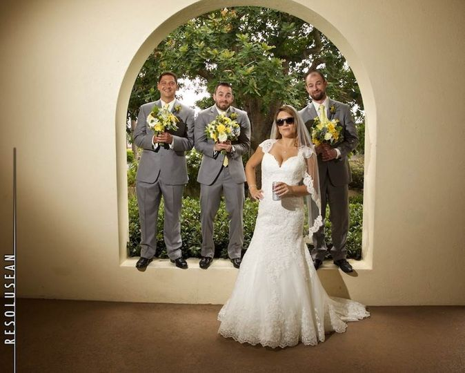 Bride and her groomsmen