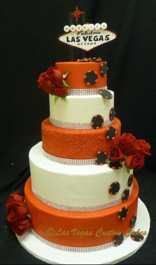 Vegas Red Sparkle Wedding Cake