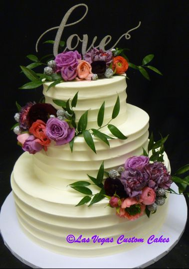 Textured Buttercream with Floral Wedding Cake