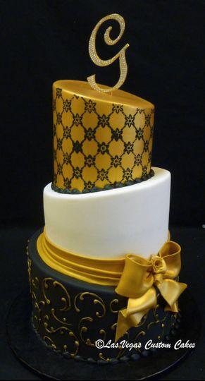 wedding gold black 3 tier topsy turvy