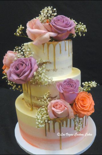 800x800 1510441763671 Wedding Naked Semi Gold Drizzle With Fresh Roses ...