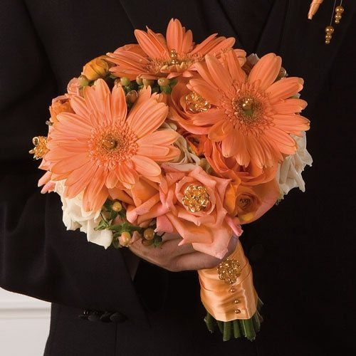 Peach Gerbera Bridal Bouquet