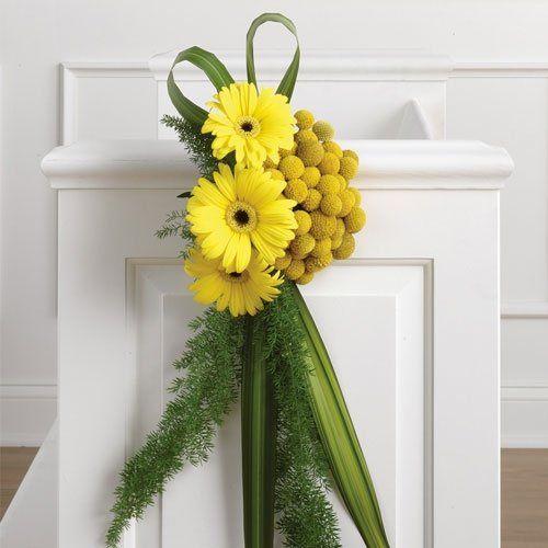 Yellow Pew Decorations