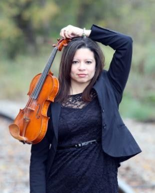 Musician posing with violin