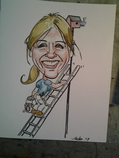 Caricature going up the ladder