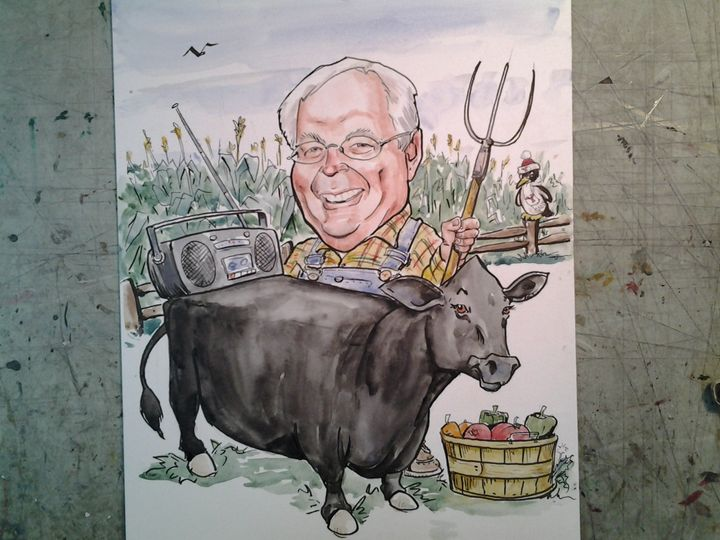 Caricature of a man with a cow