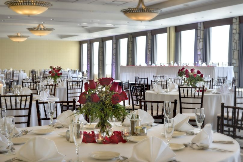Table setup and rose centerpiece