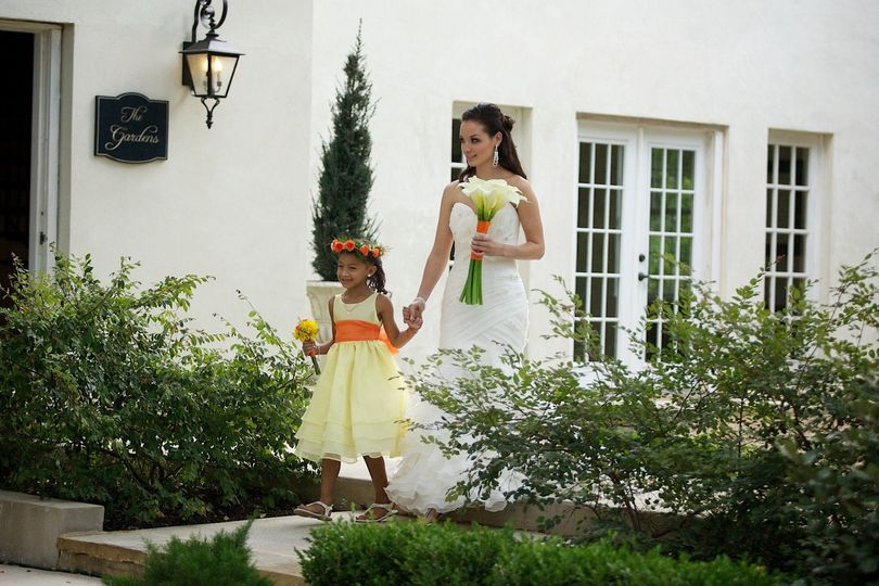 Bride with the flowergirl