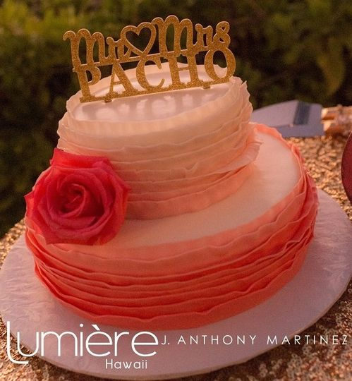 Two tier pink ombre cake