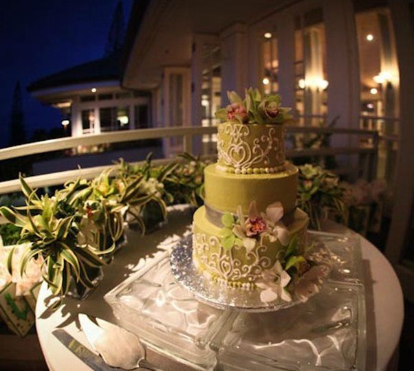 Three tier golden cake