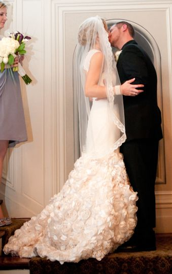This beautiful gown was made from satin with lace overlay, a dimentional rose lower skirt,(that is...