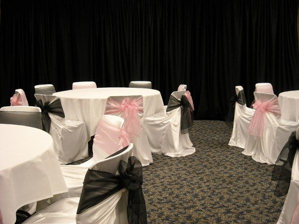 Parks room can hold up to 80 Banquet Style.  Chair covers add style at a reasonable cost.