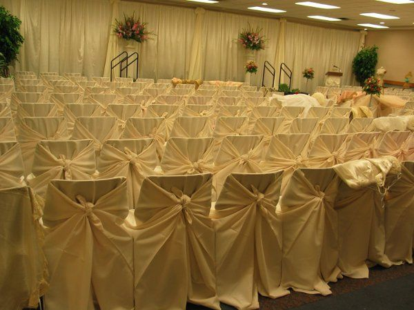 Chair Covers in Richardson Room.  Room can hold up to 220 Theatre Style.