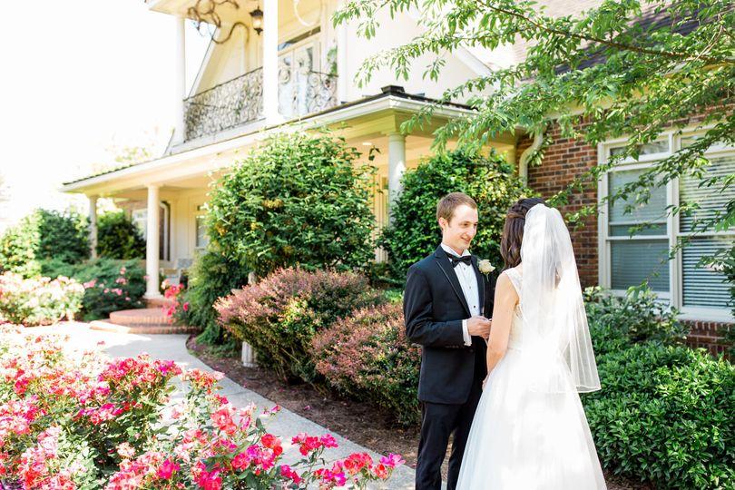 Groom and bride in the garden