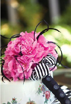 Pink Peony Bouquet with black feathers