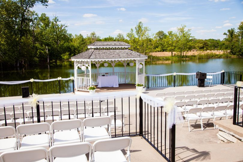 The wedding venue outside in sunlight
