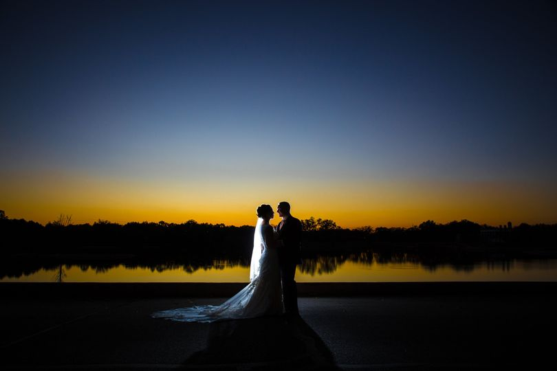 Dramatic shot of couple as the sun sets
